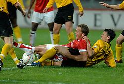 09-05-2007 VOETBAL: PLAY OFF: UTRECHT - RODA: UTRECHT<br /> In de play-off-confrontatie tussen FC Utrecht en Roda JC om een plek in de UEFA Cup is nog niets beslist. De eerste wedstrijd tussen beide in Utrecht eindigde in 0-0 / Tim Cornelisse en Davy de Fouw<br /> ©2007-WWW.FOTOHOOGENDOORN.NL
