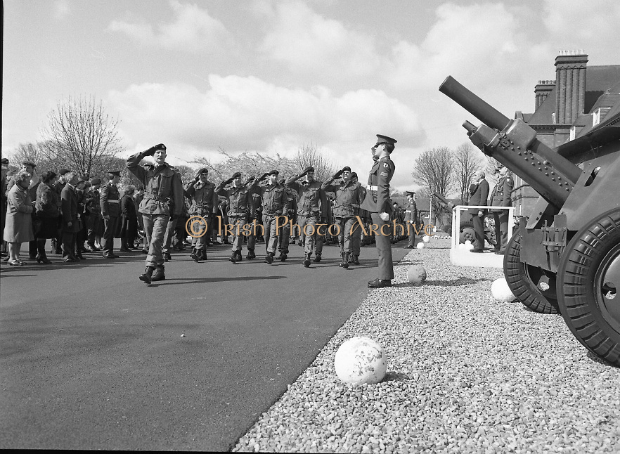 1983-04-12.12th April 1983.12-04-1983.04-12-83..Photographed at McKee Barracks, Cork..Marching Past..Defence Minister Paddy Cooney TD on the review stand takes the salute from passing troops of the 53rd Infantry Battalion..Lieutenant Thomas McGrath  leads the marching troops. .