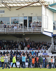 Bristol Rovers fans take their frustration out on the Bristol Rovers Board in the directors Box - Photo mandatory by-line: Joe Meredith/JMP - Mobile: 07966 386802 03/05/2014 - SPORT - FOOTBALL - Bristol - Memorial Stadium - Bristol Rovers v Mansfield - Sky Bet League Two