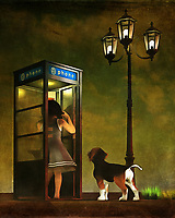 Are Amy and her beagle Buddy lost? That might be the case in this lovely street scene, which depicts Amy and Buddy in a phone booth. Buddy is paying rapt attention, but he doesn't seem to be too concerned. Nor does Amy. Perhaps, they have just gotten a little off the beaten path. With the streetlights on over their heads, we can guess the early evening is settling in. This piece is noted for the deep tones that create the sky, and for the body language that tells us what's going on with Amy and Buddy. This piece is available in the form of interior products, wall art, and t-shirts. .<br /> <br /> BUY THIS PRINT AT<br /> <br /> FINE ART AMERICA<br /> ENGLISH<br /> https://janke.pixels.com/featured/phoning-home-jan-keteleer.html<br /> <br /> WADM / OH MY PRINTS<br /> DUTCH / FRENCH / GERMAN<br /> https://www.werkaandemuur.nl/nl/shopwerk/Kinderen-Kunst-Amy-en-Buddy-bellen-naar-huis/438928/134