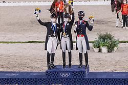Von Bredow-Werndl Jessica, GER, Werth Isabell, GER, Dujardin Charlotte, GBR<br /> Olympic Games Tokyo 2021<br /> © Hippo Foto - Dirk Caremans<br /> 28/07/2021