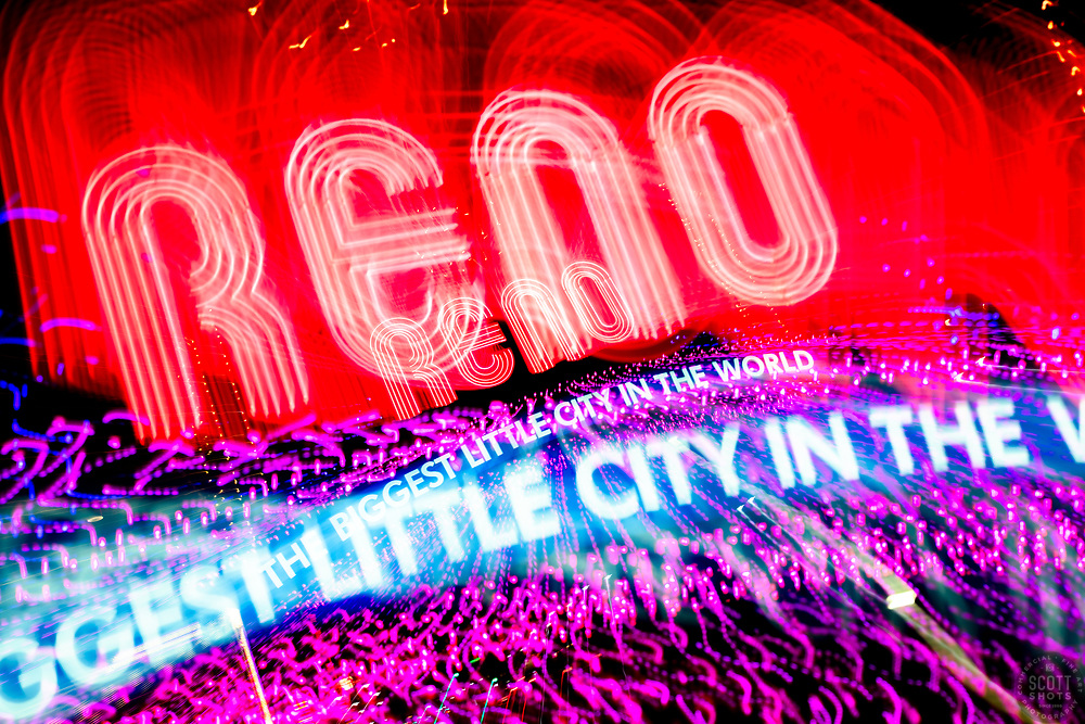 """""""Reno Lights 11"""" - The Grand Sierra Resort photographed in Reno, Nevada. The abstract effect was obtained in camera by long exposure mixed with intentional camera movement."""