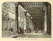Interior of the Church of the Nativity, Bethlehem From the book 'Those holy fields : Palestine, illustrated by pen and pencil' by Manning, Samuel, 1822-1881; Religious Tract Society (Great Britain) Published in 1873