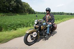 Marcin Grela of Poland riding his 1936 Harley-Davidson VLH during Stage 5 of the Motorcycle Cannonball Cross-Country Endurance Run, which on this day ran from Clarksville, TN to Cape Girardeau, MO., USA. Tuesday, September 9, 2014.  Photography ©2014 Michael Lichter.