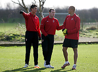 Photo: Paul Thomas.<br />Manchester United training session. UEFA Champions League. 06/03/2007.<br />Man Utd's Cristiano Ronaldo (L), Wayne Rooney (C) and Wes Brown (R) during training.