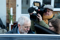 """© Licensed to London News Pictures. 20/12/2018. London, UK. Leader of the Labour Party Jeremy Corbyn leaves home this morning. Yesterday, Corbyn was accused of calling British Prime Minister Theresa May a """"stupid women"""" during Prime Minister's Questions. Conservative MPs demanded an apology, but Corbyn denies saying this, claiming he actually said """"stupid people"""". Photo credit : Tom Nicholson/LNP"""