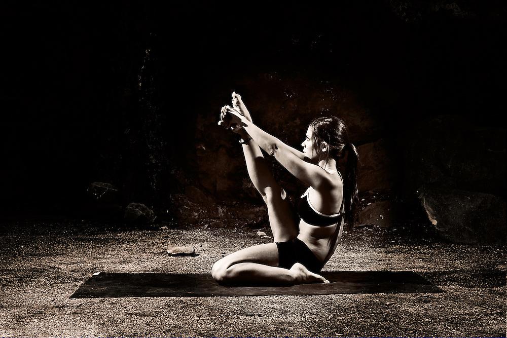 Gailyn Wensloff doing heron pose outside