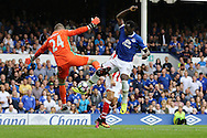 Stoke City Goalkeeper Shay Given saves from Romelu Lukaku of Everton. Premier league match, Everton v Stoke city at Goodison Park in Liverpool, Merseyside on Saturday 27th August 2016.<br /> pic by Chris Stading, Andrew Orchard sports photography.