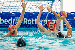 Jesse Nispeling, Eelco Wagenaar of the Netherlands in action against France during the Olympic qualifying tournament. The Dutch water polo players are on the hunt for a starting ticket for the Olympic Games on February 17, 2021 in Rotterdam
