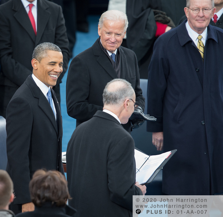 President Obama, Vice President Biden, and Sen. Charles Schumer during the 57th Presidential Inauguration of President Barack Obama at the U.S. Capitol Building in Washington, DC January 21, 2013.