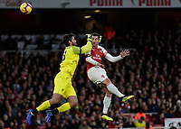 Football - 2018 / 2019 Premier League - Arsenal vs. Liverpool<br /> <br /> Henrikh Mkhitaryan (Arsenal FC) collides with (Liverpool FC) <br /> at The Emirates.<br /> <br /> COLORSPORT/DANIEL BEARHAM