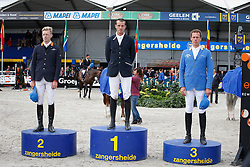 Podium Sires of the World<br /> 1. Gregory Wathelet (BEL)<br /> 2 Tim Rieskamp Goedeking (GER)<br /> 3. Christian Ahlmann (GER)<br /> FEI Zangersheide Sires of the World - Lanaken 2013<br /> © Dirk Caremans