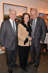 Left to right, RICHARD MADELEY, CAROL MADELEY and SIR PETER BOTTOMLEY at a private view of work by artist Philip Bouchard at 508 Gallery, 508 King's Road, London on 3rd April 2014.