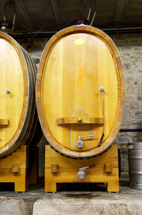 Domaine Clos Marie. Pic St Loup. Languedoc. Barrel cellar. Wooden fermentation and storage tanks. Using various shapes and forms to experiment. France. Europe.