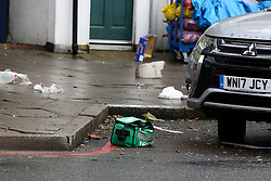 © Licensed to London News Pictures. 11/12/2020. London, UK. Medical kit on the road in Stamford Hill, north London after a car which mounted on pavement and plough into pedestrians just after 9.30am. Five people have been rushed to the hospital. Photo credit: Dinendra Haria/LNP