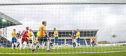 Falkirk's David McCracken scoring their fifth goal,<br /> Falkirk 6 v 0 Cowdenbeath, Scottish Championship game played at The Falkirk Stadium, 25/10/2014.