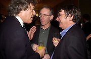 Tom Stoppard, Ian McEwan and David Lodge, The New York Review Of Books - 40th anniversary party, English Speaking Union, 13 October 2003. © Copyright Photograph by Dafydd Jones 66 Stockwell Park Rd. London SW9 0DA Tel 020 7733 0108 www.dafjones.com