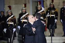 Outgoing Prime Minister Manuel Valls and his successor Bernard Cazeneuve, the outgoing Minister of the Interior, during a ceremony of transfer of power, at the Prime Minister's office Hotel de Matignon, in Paris, France on December 6, 2016. Valls has resigned to declare himself a candidate for the presidency, four days after President Francois Hollande announced he would not seek re-election next May 2017. Photo by Eliot Blondet/ABACAPRESS.COM