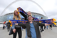 Fans outside Wembley Stadium before the Sky Bet League 2 play off final match between AFC Wimbledon and Plymouth Argyle at Wembley Stadium, London, England on 30 May 2016.
