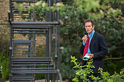 Monty Don prepares himself in the Breaking Ground Garden - The Chelsea Flower Show organised by the Royal Horticultural Society with M&G as its MAIN sponsor for the final year.