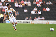 Milton Keynes Dons defender George Williams (2) looks to release the ball during the EFL Sky Bet League 2 match between Milton Keynes Dons and Grimsby Town FC at stadium:mk, Milton Keynes, England on 21 August 2018.