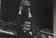 1980, Joe Connolly, Galway Captain, lifts the Liam McCarthy Cup after Galways victory over LImerick.