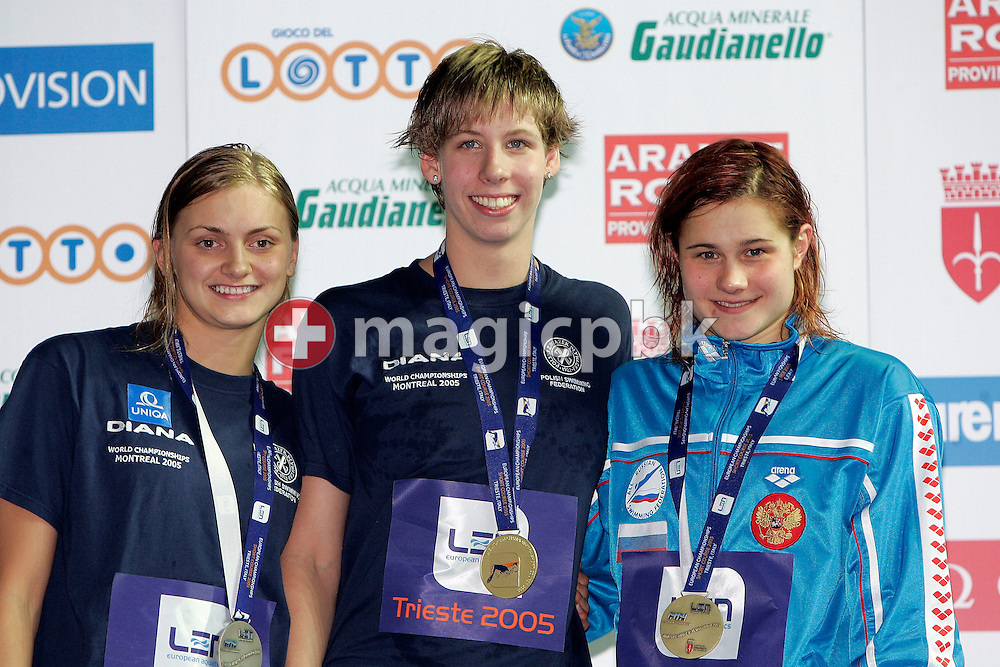 (L-R) Aleksandra URBANCZYK of Poland, silver, Katarzyna BARANOWSKA of Poland, gold, and Daria BELYAKINA of Russia, bronze, during the medal ceremony after the final of the women's 200m Individual Medley (IM) during the European Swimming Short Course Championships on December 8, 2005, in Trieste, Italy. (Photo by Patrick B. Kraemer/MAGICPBK)