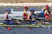 20040814 Olympic Games Athens Greece [Rowing]<br /> Photo  Peter Spurrier <br /> GBR M2X ,  left Matt Wells and Matt Langridge moves off the start on the opening day of the Olympic regatta.<br /> <br /> email;  images@intersport-images.com<br /> Tel +44 7973 819 551<br /> T<br /> <br /> <br /> [Mandatory Credit Peter Spurrier/ Intersport Images]