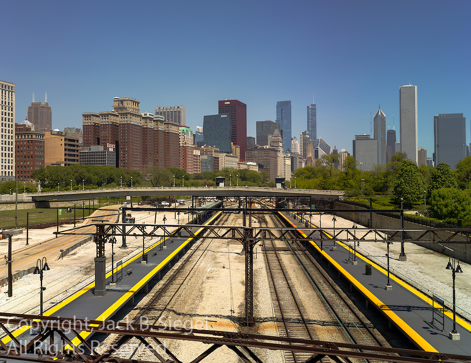 In Chicago's Grant Park looking north over the South Shore Rail Line