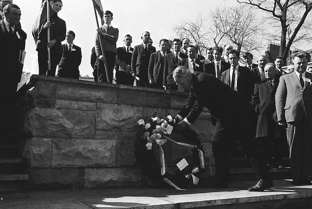 Picture shows attendees of the GAA Annual Congress at the Garden of Remembrance, Parnell Square, Dublin during a luncheon interval of congress...Annual Congress, GAA. 6.4.1969. 6th April 1969