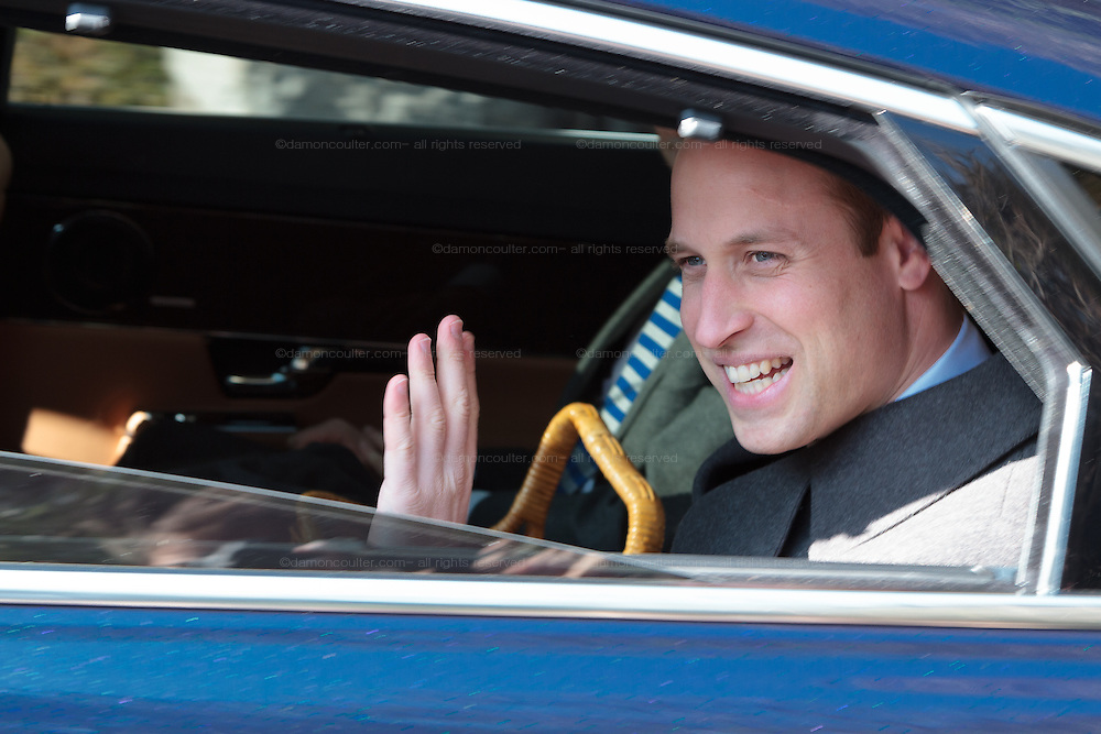 Prince William, The Duke of Cambridge, waves from his car during a visit to the Yokohama Commonwealth War Graves Cemetery in Hodogaya near Yokyohama, Kanagawa, Japan. Friday February 27th 2015. Prince William, who is travelling without his pregnant wife, Kate Middleton, is making his first visit to Japan on a 4 day tour before travelling onto China on Sunday