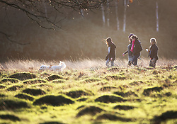 © Licensed to London News Pictures. 23/12/2015. London, UK. A family walk in early morning sunshine in Richmond Park.  Photo credit: Peter Macdiarmid/LNP