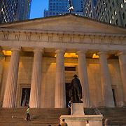 Federal hall and George Washington statue on Wall Street, New York