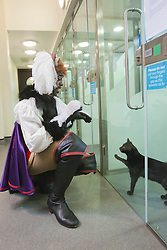 "© Licensed to London News Pictures. 23/10/2013. London, England. Actor KAT B visits the cattery of Battersea Dogs & Cats before starring in the title role of the ""Puss in Boots"" Christmas Panto at the Hackney Empire, London. Hackney Empire and the Battersea Dogs & Cats Home have teamed up to find homes for rescue moggies which will be featured in the pantomime programme. Photo credit: Bettina Strenske/LNP"