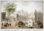 Mexican-American War 1846-1848: Battle of Chapultepec 12-13 September 1847.  US forces under Winfield Scott  defeated Mexicans under Nicolas Bravo. Hand-coloured engraving.