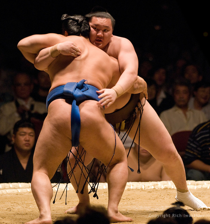 Aminishiki (blue mawashi) and Hakuho compete in the second round of Day 1 of Grand Sumo Tournament Los Angeles 2008, Los Angeles Sports Arena, Los Angeles, California