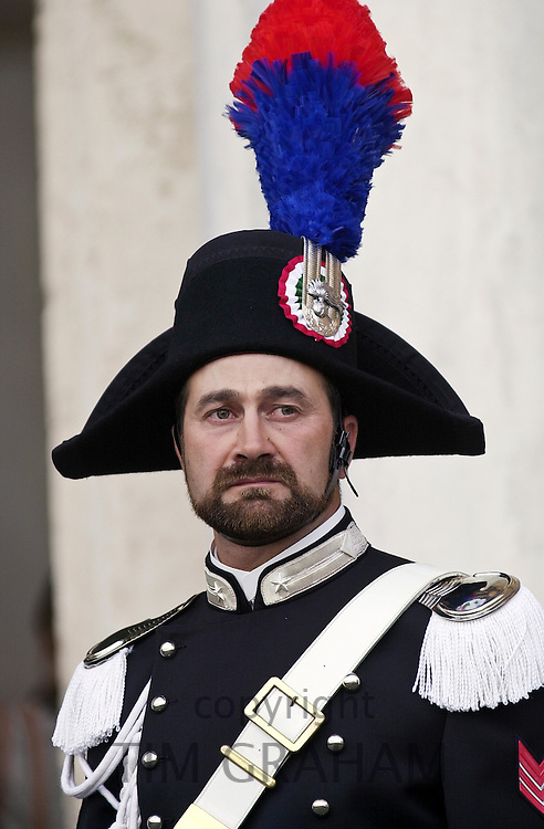 Ceremonial guard at Quirinale Palace, Rome, Italy.