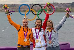 06-08-2012 WATERSPORT: OLYMPISCHE SPELEN 2012 LASER RADIAL MEDALRACE: WEYMOUTH<br /> Marit Bouwmeester wint de zilveren medaille in de Laser Radial, Van Acker Evi, pakt brons en de Chinese Xu Lijia het goud.<br /> ©2012-FotoHoogendoorn.nl