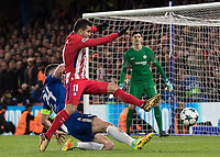 Football - 2017 / 2018 UEFA Champions League - Group C: Chelsea vs. Atletico Madrid<br /> <br /> Last ditch defending as Gary Cahill (Chelsea FC)  slide in to prevent Angel Correa (Atletico Madrid) at Stamford Bridge.<br /> <br /> COLORSPORT/DANIEL BEARHAM