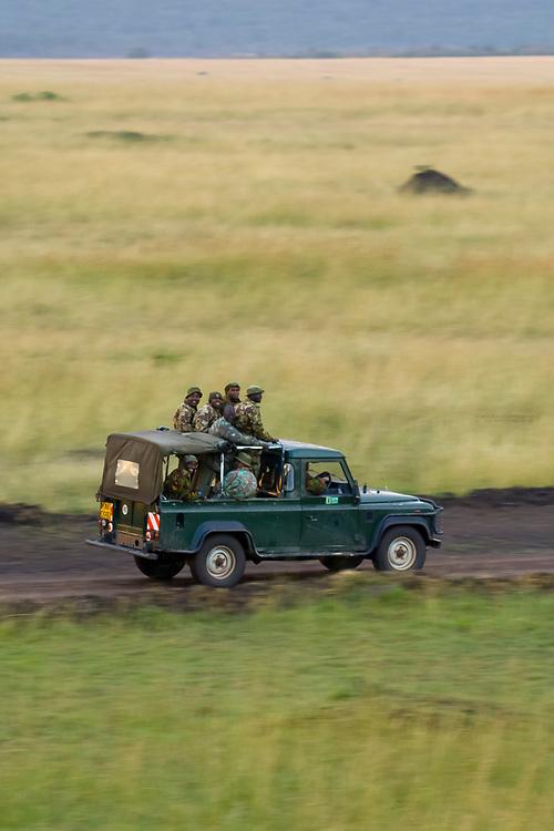 Park rangers of the Mara Conservancy, Masai Mara National Reserve, Kenya seen from the air