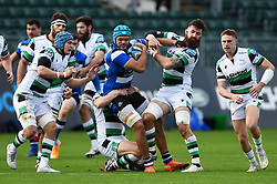 Zach Mercer of Bath Rugby fends Gary Graham of Newcastle Falcons - Mandatory byline: Patrick Khachfe/JMP - 07966 386802 - 21/11/2020 - RUGBY UNION - The Recreation Ground - Bath, England - Bath Rugby v Newcastle Falcons - Gallagher Premiership
