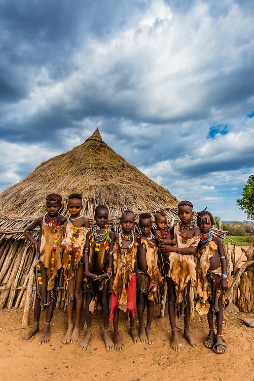 A group of Hamer tribe girls, Omo Valley, Ethiopia.