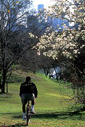 Stock photo of a cyclist on a  Buffalo Bayou hike and bike trail in Buffalo Bayou Park