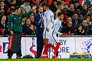 England Crystal Palace on loan from Chelsea Ruben Loftus-Cheek (10) shakes the hand of England Manager Gareth Southgate as he is substituted for England Manchester United midfielder Jesse Lingard (20)  during the International Friendly match between England and Brazil at Wembley Stadium, London, England on 14 November 2017. Photo by Simon Davies.