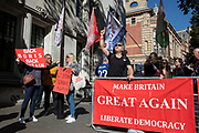 Pro-leave protesters outside The Supreme Court as the first day of the hearing to rule on the legality of suspending or proroguing Parliament begins on September 17th 2019 in London, United Kingdom. The ruling will be made by 11 judges in the coming days to determine if the action of Prime Minister Boris Johnson to suspend parliament and his advice to do so given to the Queen was unlawful. (photo by Mike Kemp/In Pictures via Getty Images)