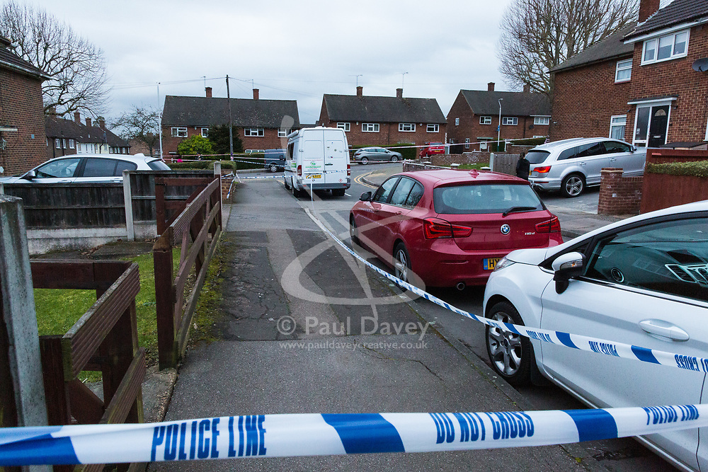 A crime scene remains in place near Havering College of Further and Higher Education in Tring Gardens, Harold Hill, Romford, where eyewitnesses say a student was stabbed before being brought to the college where he was taken to hospital by the London Air Ambulance. London, March 19 2019.
