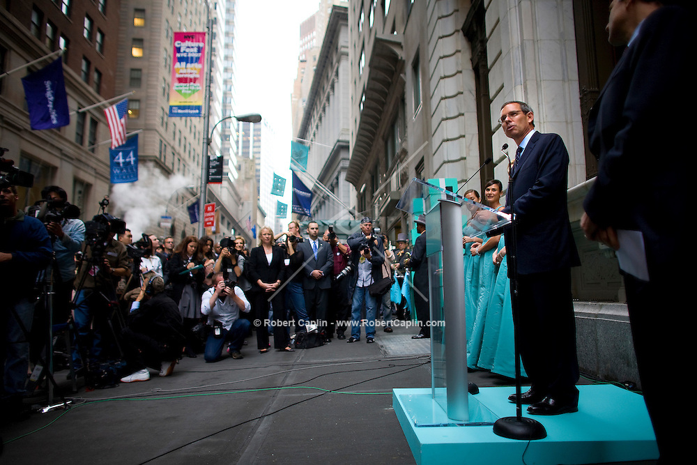 Tiffany & Co. CEO Michael Kowalski speaks outside the new Wall Street location Oct. 10, 2007 the day Tiffany & Co. went public and for the ribbon cutting of their new Wall Street store in New York.