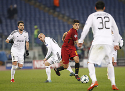 December 5, 2017 - Rome, Italy - Roma s Diego Perotti, right, is challenged by Qarabag s Richard Almeida during the Champions League Group C soccer match between Roma and Qarabag at the Olympic stadium. Roma won 1-0 to reach the round of 16. (Credit Image: © Riccardo De Luca/Pacific Press via ZUMA Wire)