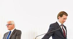 27.08.2015, Hofburg, Wien, AUT, Westbalkan Konferenz, Pressekonferenz der Aussenminister, im Bild v.l.n.r. Außenminister Deutschland Frank-Walter Steinmeier und Bundesminister für europaeische und internationale Angelegenheiten Sebastian Kurz // f.l.t.r. Foreign Minister of Germany Frank- Walter Steinmeier and Foreign Minister of Austria Sebastian Kurz during press conference of the foreign ministers during Western Balkans Summit at Hofburg in Vienna, Austria on 2015/08/27, EXPA Pictures © 2015, PhotoCredit: EXPA/ Michael Gruber