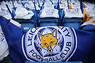 Leicester City flags inside Stamford Bridge before k/o. Barclays Premier league match, Chelsea v Leicester city at Stamford Bridge in London on Sunday 15th May 2016.<br /> pic by John Patrick Fletcher, Andrew Orchard sports photography.